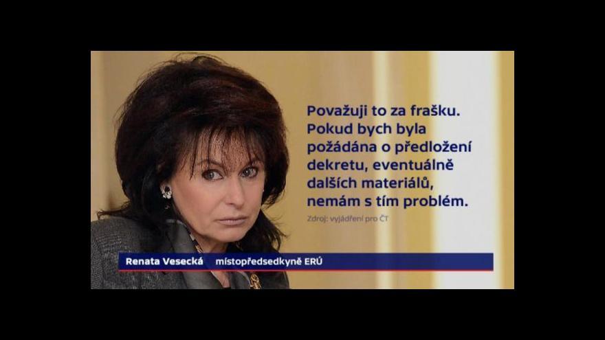Video Události: Zásah v ERÚ kvůli jmenování Vesecké