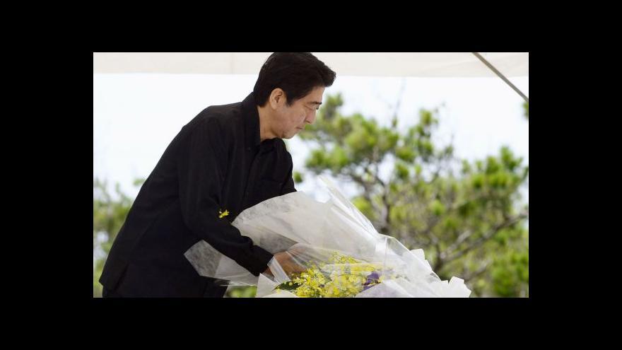 Video Vzpomínkového aktu se zúčastnil i premiér Šinzó Abe