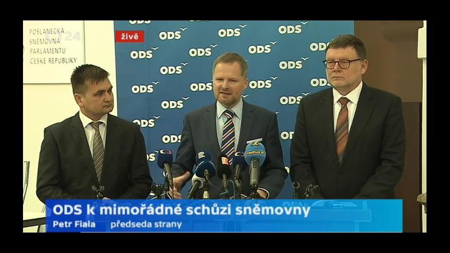 Video Brífink ODS a TOP 09 k mimořádné schůzi sněmovny