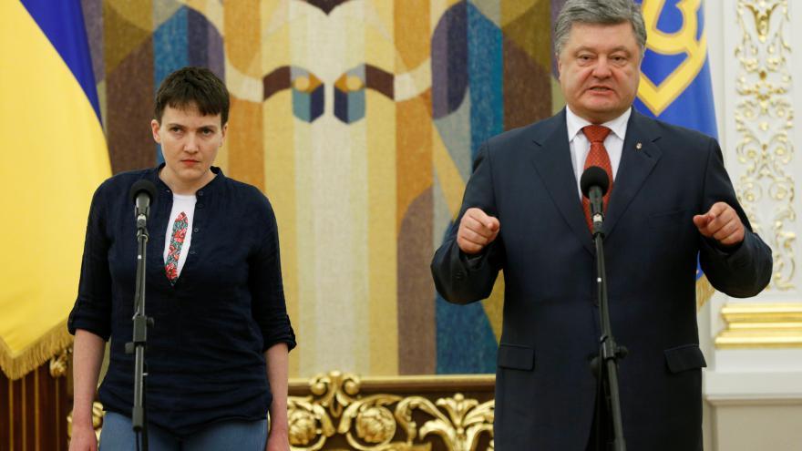Video Projev Porošenka a Savčenkové po jejím návratu