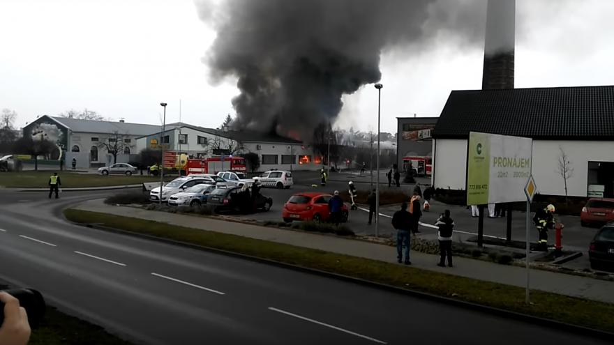 Video Požár papírny Moudrý Židlochovice 18.12.2016