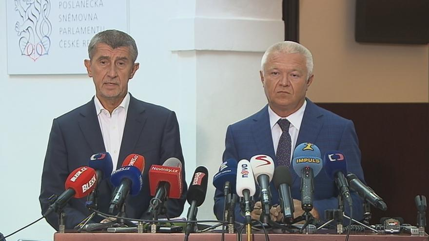 Video Babiš a Faltýnek před mandátovým výborem