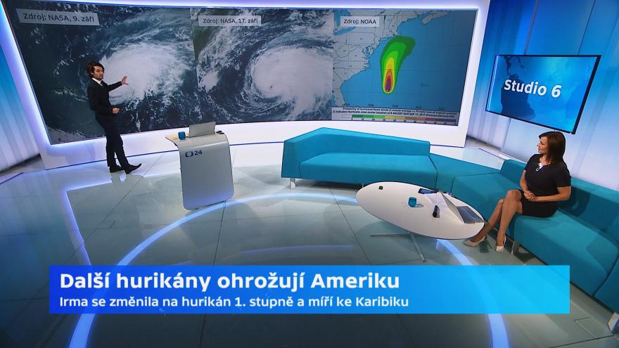 Video Meteorolog ČT: Hurikány brázdí moře u Ameriky