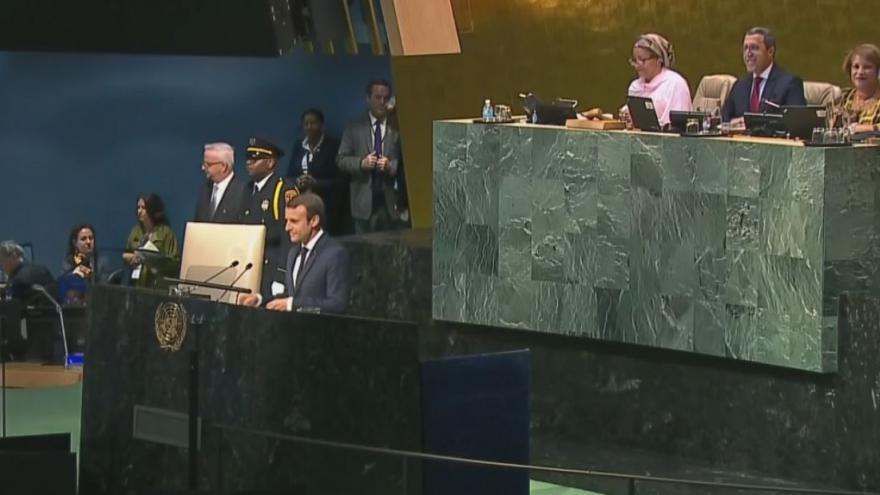Video Francouzský prezident Macron na 72. zasedání Valného shromáždění OSN