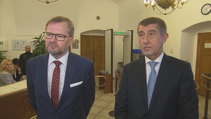 Video Babiš a Fiala po jednání o podpoře vlády