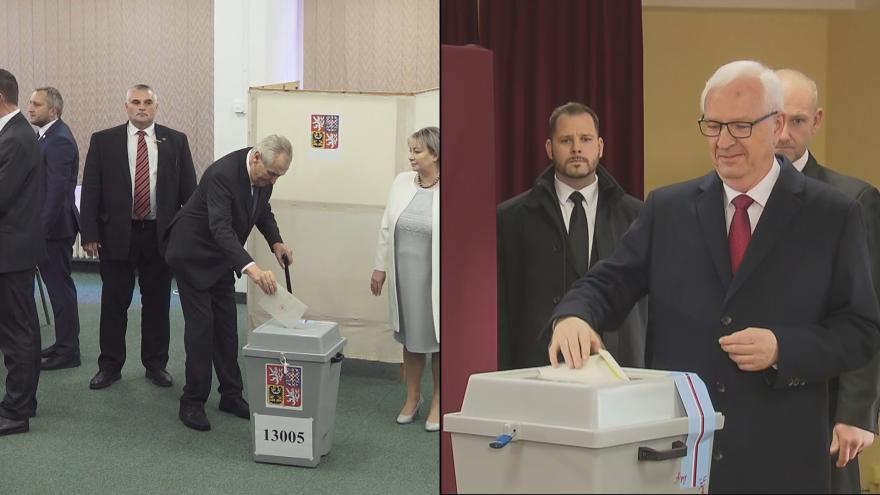 Video Miloš Zeman i Jiří Drahoš odvolili krátce po otevření volebních místností