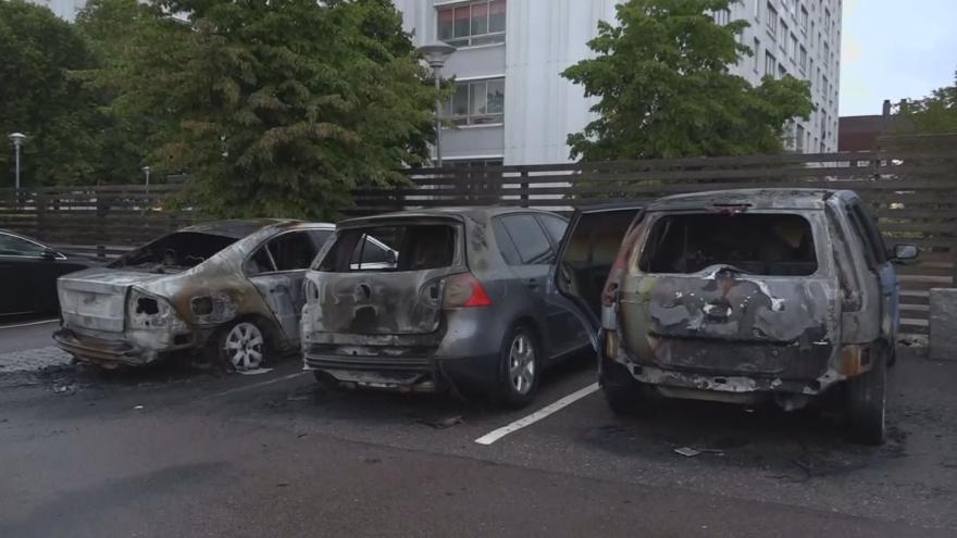 Video Skupiny mladíků zapálily či zničily ve Švédsku mnoho desítek aut