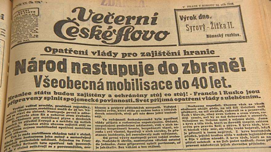 Video vyhlášení mobilizace na titulních stranách tehdejších novin