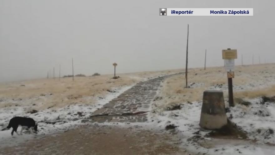 Video iReportér: První sníh po létu v Krkonoších
