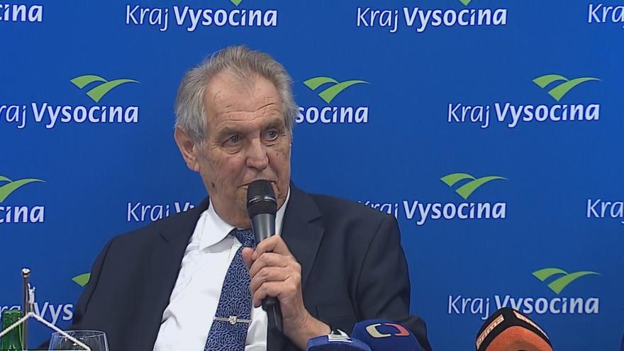 Video Miloš Zeman na tiskové konferenci v závěru návštěvy Kraje Vysočina