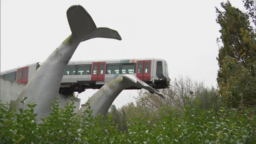 Video Socha velryby zabránila vykolejení metra. Svým ocasem zastavila jeho pád z mostu