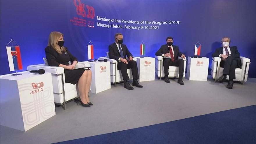 Video Brífink po jednání prezidentů V4 10. února