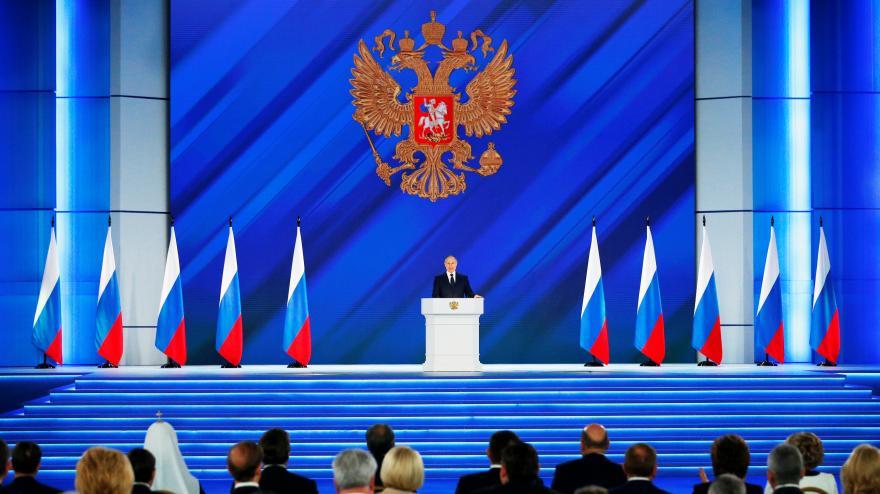 Video Tradiční poselství federálnímu shromáždění ruského prezidenta Vladimira Putina