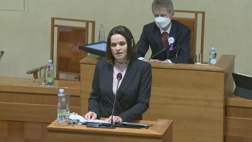 Video Projev představitelky běloruské opozice Svjatlany Cichanouské v Senátu