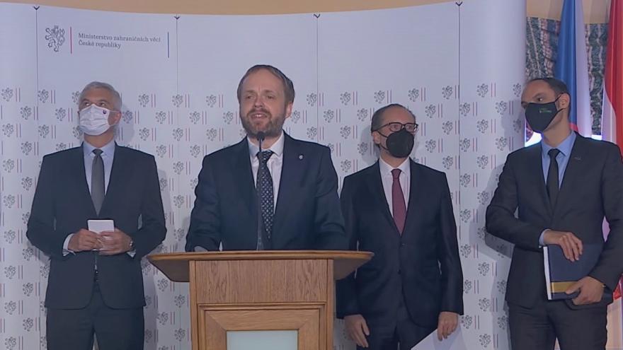 Video Brífink šéfa diplomacie Kulhánka po schůzce ministrů zahraničí zemí střední Evropy