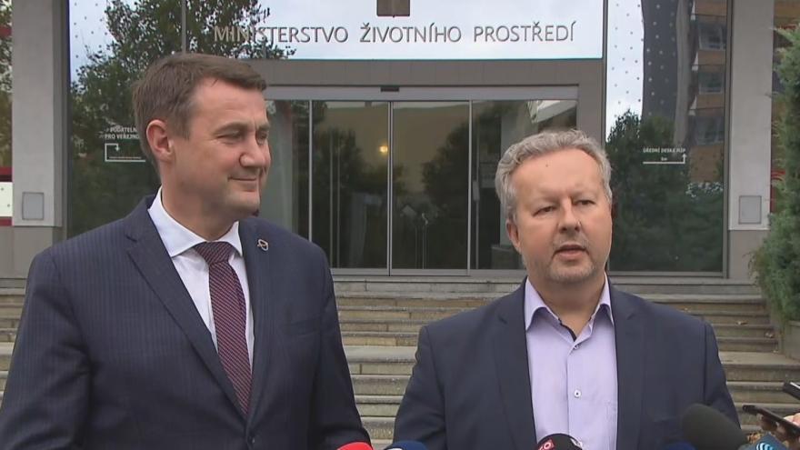 Video Ministr Richard Brabec a hejtman Libereckého kraje Martin Půta po jednání o dole Turów
