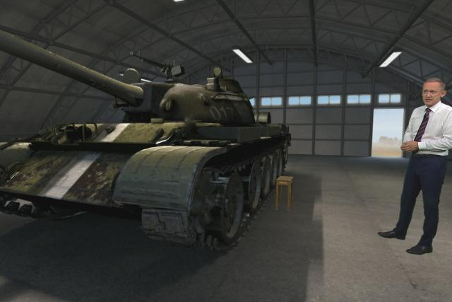 Michal Kubal u modelu tanku