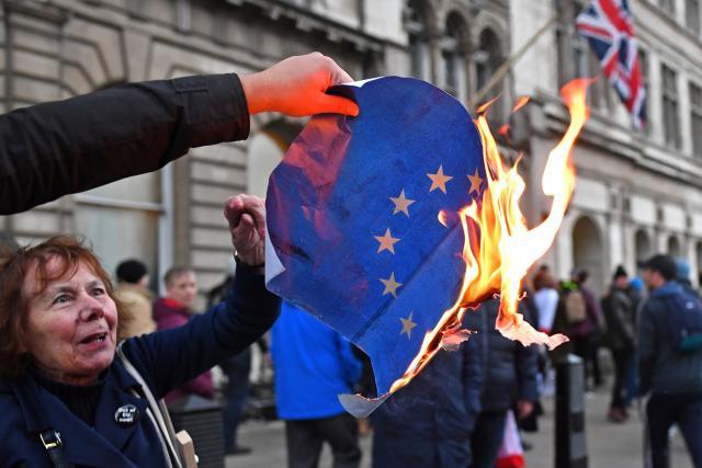 Podporovatelé brexitu zapálili v neděli před britským parlamentem vlajku EU