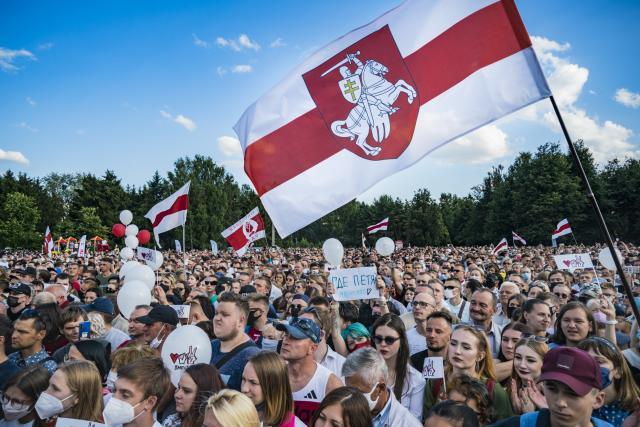 Mítink příznivců Svjatlany Cichanouské v Minsku