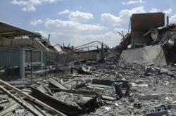 Trosky syrského výzkumného střediska ve městě Barzá nedaleko Damašku po útoku spojeneckých raket