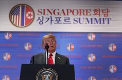 Donald Trump na brífinku po jednání s Kimem