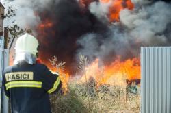 Požár odpadu v Kutné Hoře