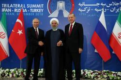 Prezidenti Vladimir Putin, Hasan Rouhání a Recep Tayyip Erdogan