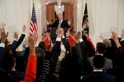 Donald Trump na tiskové konferenci po volbách