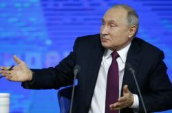 Ruský prezident Vladimir Putin a výroční tiskové konferenci