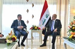 Český premiér Andrej Babiš s iráckým prezidentem Barhamem Sálihem