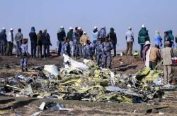 Trosky zříceného letadla etiopských aerolinek