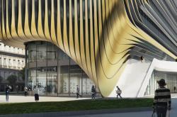 Vizualizace jedné z plánovaných staveb u Masarykova nádraží podle návrhu architekty Zahy Hadid