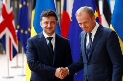 Ukrajinský prezident Volodymyr Zelenskyj a šéf Evropské rady Donald Tusk