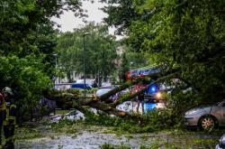 Bouře v Německu lámala stromy