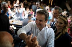Kyriakos Mitsotakis na předvolebním mítinku Nové demokracie