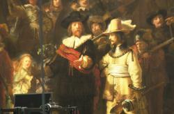 Rembrandtova Noční hlídka (výsek)