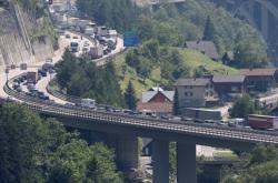 Zácpa u Gottharského tunelu ve Švýcarsku