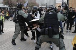 Zatýkání na demonstraci na podporu Ujgurů