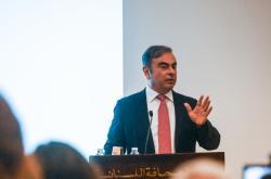 Carlos Ghosn na tiskové konferenci v Bejrútu