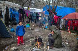 Děti v řeckém táboře Moria
