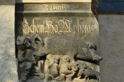 Antisemitský reliéf na kostele ve Wittenbergu