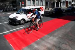 Nový pruh pro cyklisty v Bruselu