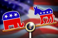 Republikánský slon a demokratický osel na volební houpačce