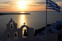 Výhled na moře z řeckého ostrova Santorini