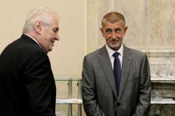 Miloš Zeman a Andrej Babiš na jednání tripartity