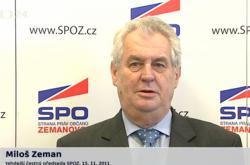 Tehdejší čestný předseda SPOZ Miloš Zeman 15.11.2011