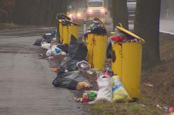 Přeplněné popelnice u silnice
