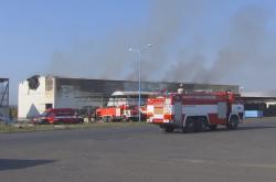 Požár v Litvínově - hala firmy Celio