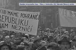 Demonstrace na Václavském náměstí v roce 1938