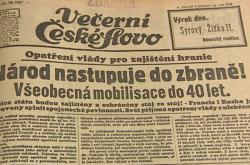 vyhlášení mobilizace 1938 - noviny